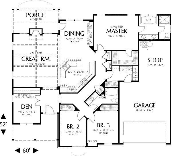 Amazing single story house plans for home d cor for Single bed house plans