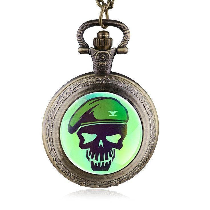 Antique Steampunk Quartz Pocket Watch Necklace Suicide Squad Quartz Pendant Chain Gifts For Men Women