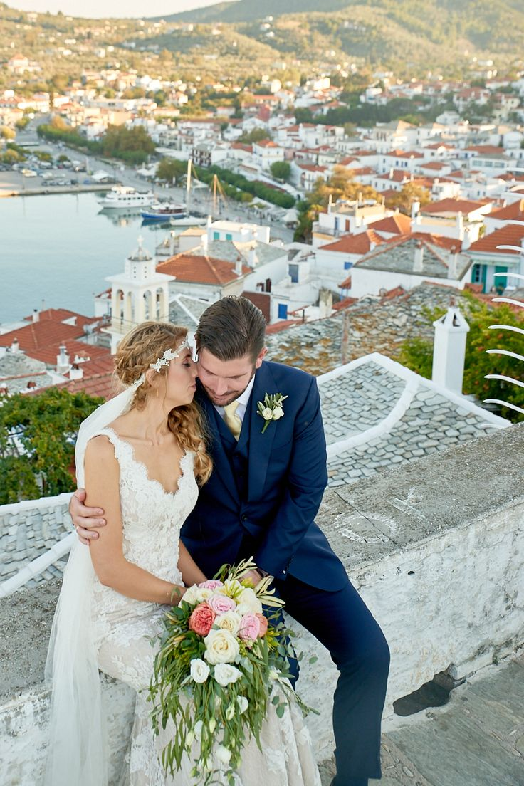 Skopelos town is the perfect romantic backdrop for your weddingphotoshoot. Skopelos Wedding by daphneweddings