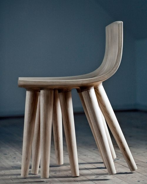 """Sepii Chair from the Chair 2.1 Collection. Its name """"comes from the cuttlefish order Sepiidae, as a reference to the way the chair dances around on the floor when seated, having only three legs touching ground at the same time."""" By k.n s. studio, designer Kristian Lindhardt Nørhave (Photo: Ida Buss)"""