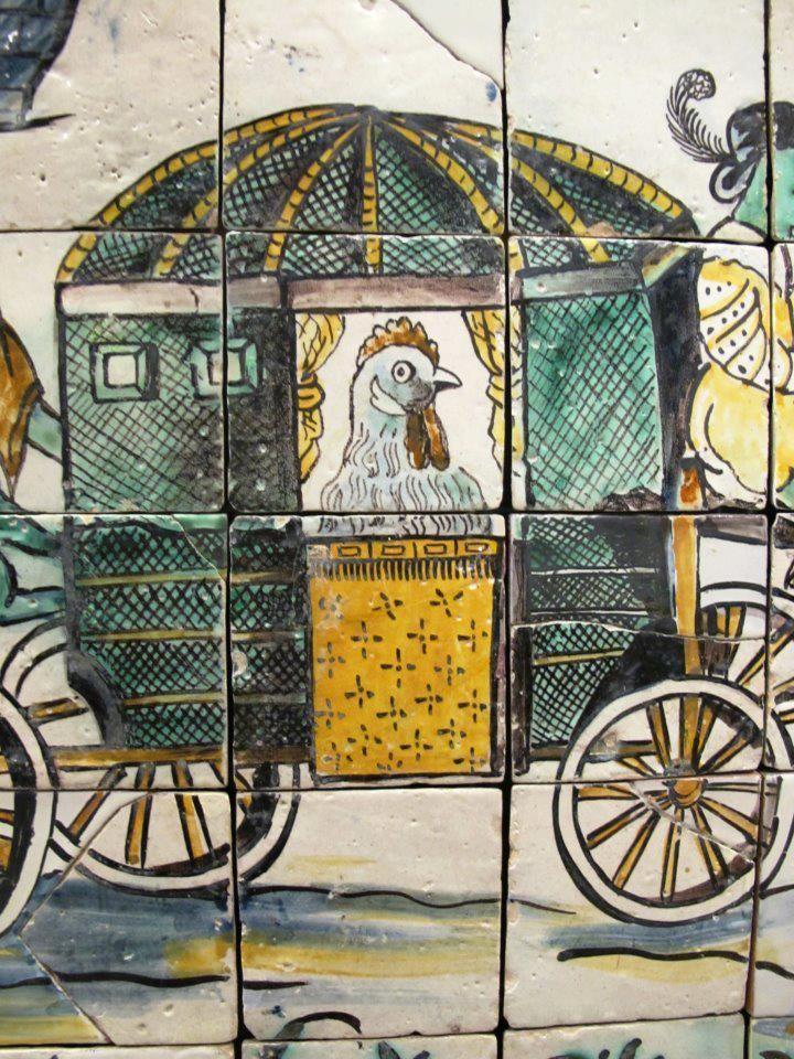 Tiles - Portugal; O casamento da galinha; ca. 1660