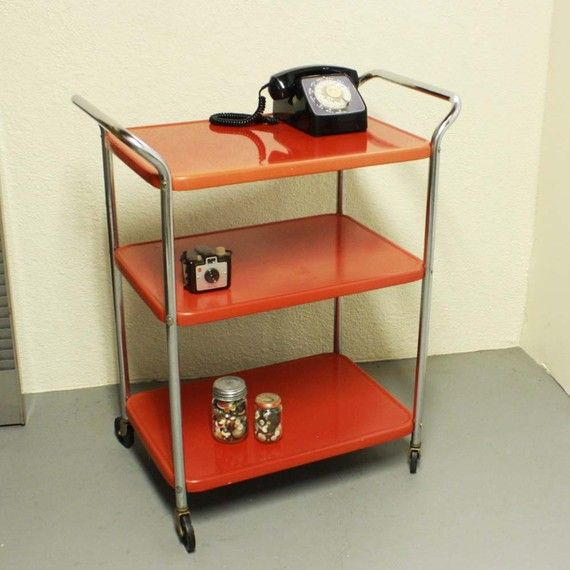 Vintage Metal Cart Serving Cart Kitchen Cart Red: Vintage Metal Cart - Serving Cart - Kitchen Cart - Red - Wheels - 3 Shelf
