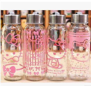 Горячий продавать 100% гарантия качества новый дизайн Hello Kitty бутылку воды стекло/Студент Чашки/питьевой бутылки дети 300 МЛ Чашки