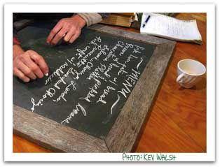 chalkboard menu  - Dinner party menu