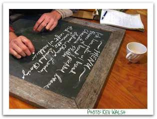 chalkboard menu  - Dinner party menu