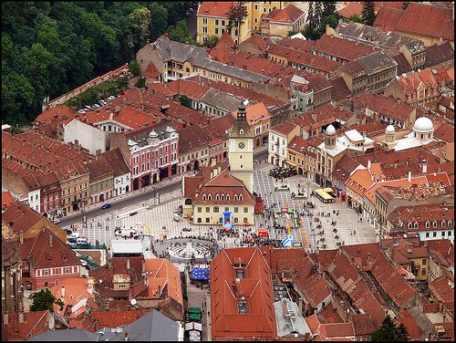 Awesome view of the city center in Brasov, Romania from on the mountain! April 2014
