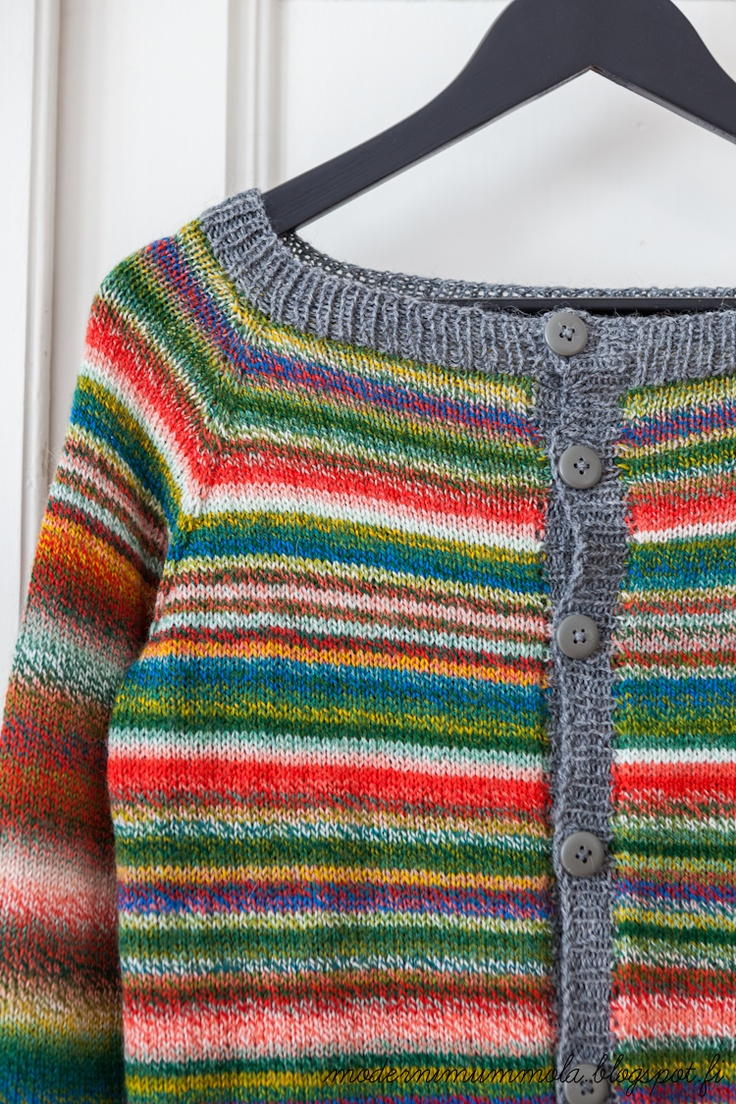 modernimummola (apparently Finnish for A Modern Grandmother.) Finnish Blogger. Gorgeous cardigan that she calls cardigan Zauberball. On this link below you can see the balls of yarn she used. Absolutely Amazing!! http://modernimummola.blogspot.fi/2013/03/varia.html