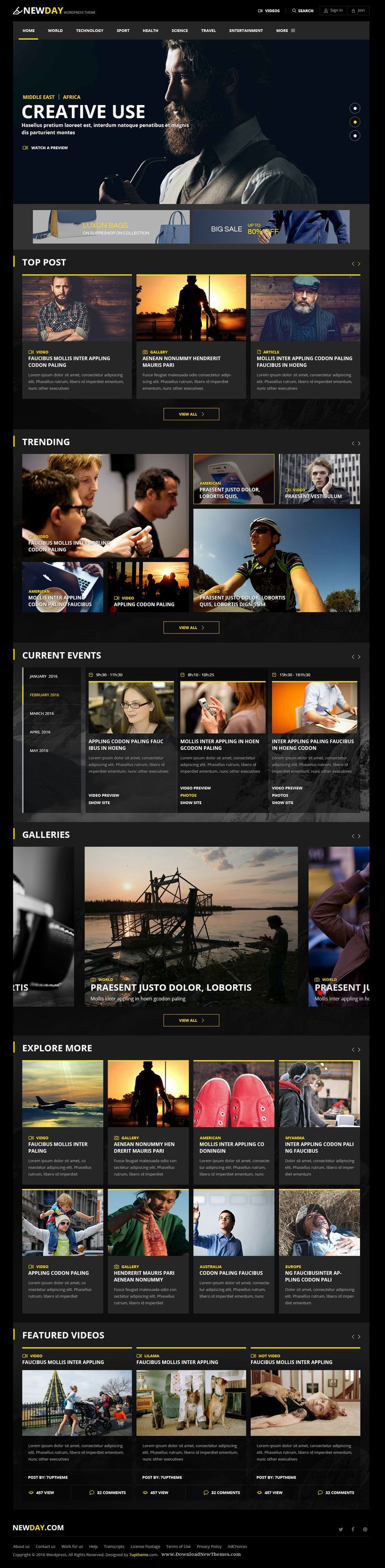 NewDay Creative News & Magazine Premium WordPress Theme Download #wpthemes…