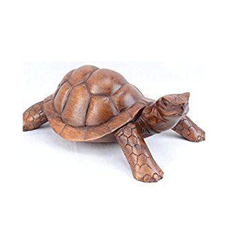 Gran estatua tortuga de tierra L30cm (madera maciza tallado mano)