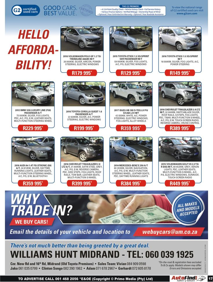 Hello #Affordability !! There's not much better than being greeted by a great deal !! Don't miss out @ #Williams #Hunt #Midrand. Contact us today on 060 039 1925 for more information and prices. *Terms and Conditions Apply. #Autofind