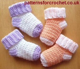 Free Baby sock crochet pattern from http://www.patternsforcrochet.co.uk/baby-socks-usa.html #freecrochetpatterns #patternsforcrochet