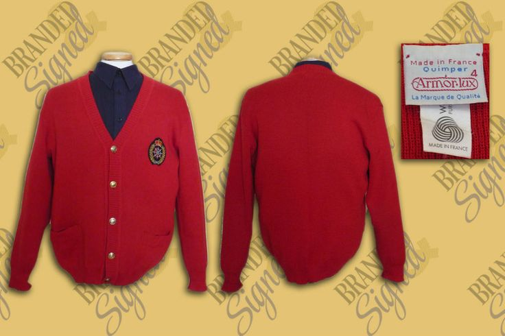 ARMOR LUX RED CARDIGAN MEN S size LARGE (4 FR) MADE IN FRANCE with CREST