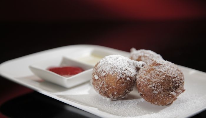 Jane and Emma's Bombolini with Raspberry Coulis and Crème Anglaise