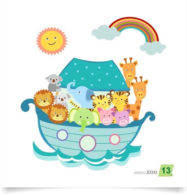 adesivo de parede bebê árvore zoo 13 arca de noe noé menino