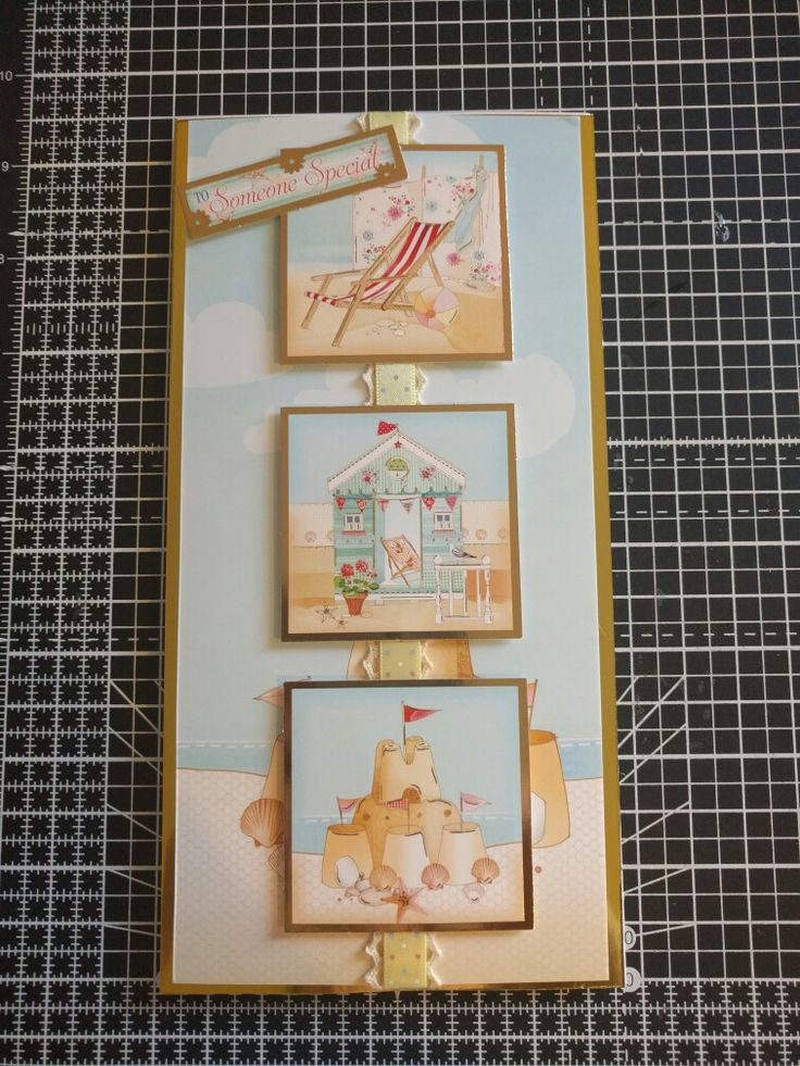 "Hunkydory Crafts Sun, Sea and Sandcastles collection. Tall seaside card, ""to someone special"""