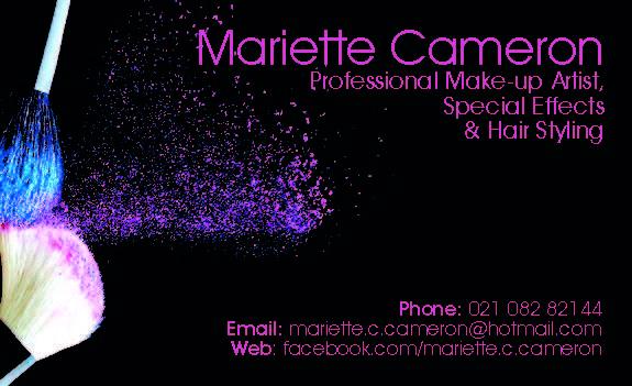 Mariette Cameron's Make Up Artist Cards