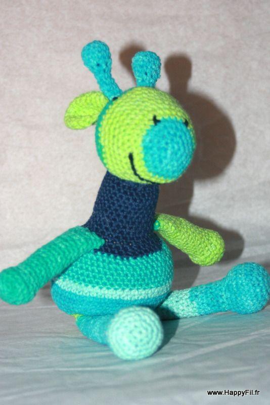 Doudou girafe au crochet en coton : Jeux, peluches, doudous par happyfil