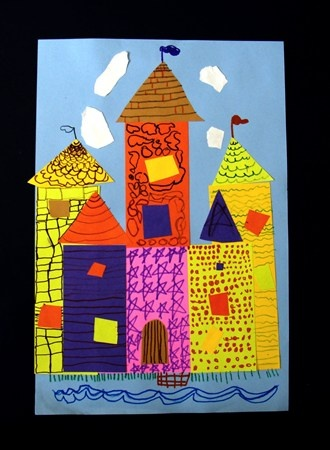 Artsonia Art Museum :: Artwork by Hallie154, Castle Collage, kinder
