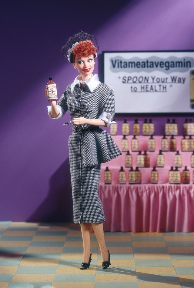 """Here is the first collectible Lucy doll created by Mattel to authentically reproduce the famous episode where """"Lucy Does a TV Commercial."""" The doll's lifelike appearance and smiling face will evoke nostalgic memories of Lucy's hysterical performance attempting to sell Vitameatavegamin."""