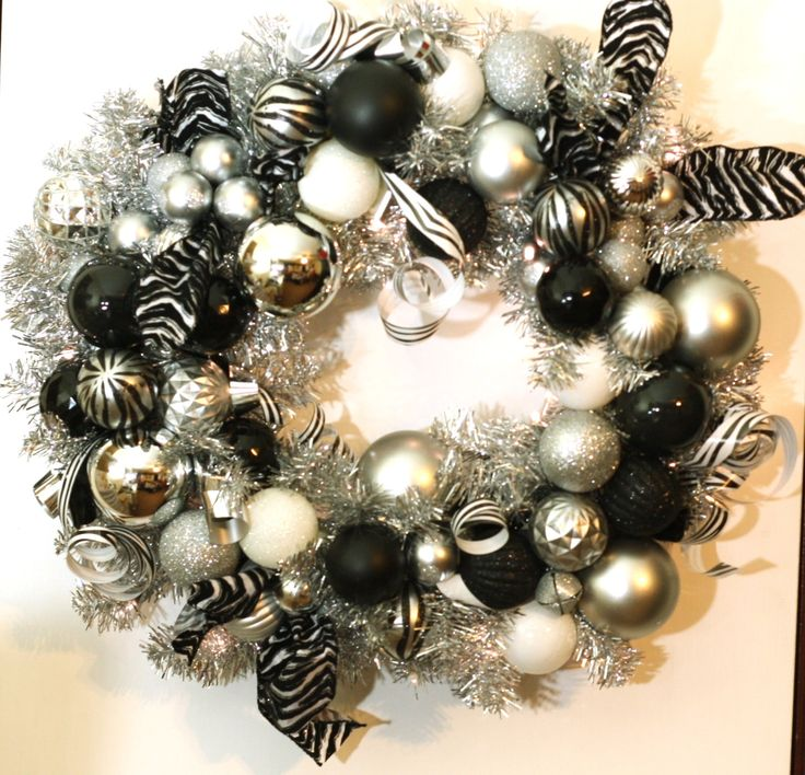 Handmade Christmas Wreath: Black, Silver and White Zebra Wreath with battery operated LED lights on a silver garland wreath, Holiday Deco by SKWOriginalsbySummer on Etsy