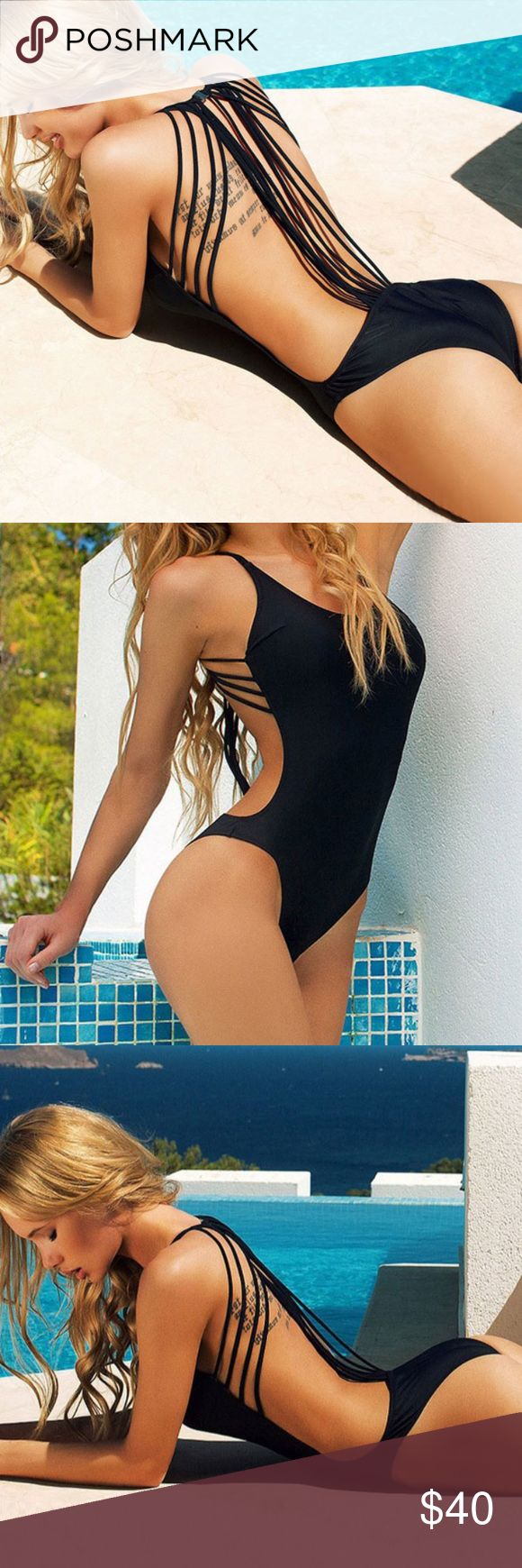 NEW LISTING Black monokini Gorgeous sexy black scrappy monokini. Not listed brand PINK Victoria's Secret Swim One Pieces