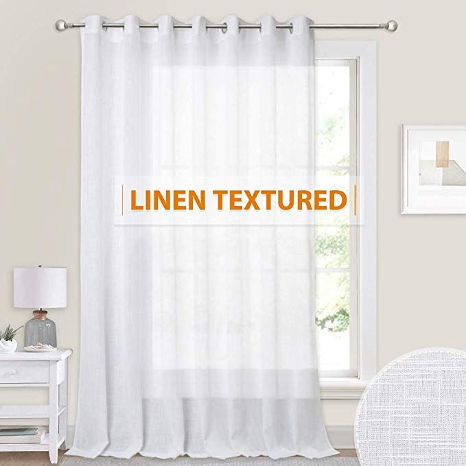 100 Inches Wide Sheer Curtain Casual Linen Wave Texture Hazy