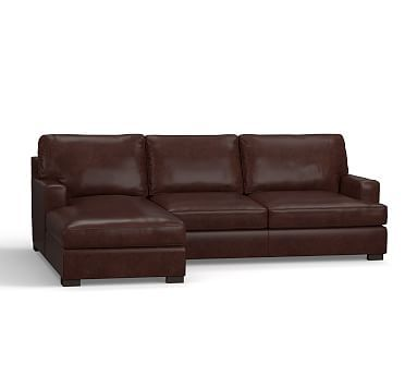 Townsend Square Arm Leather Right Chaise Sofa Sectional, Polyester Wrapped Cushions, Leather Statesville Espresso