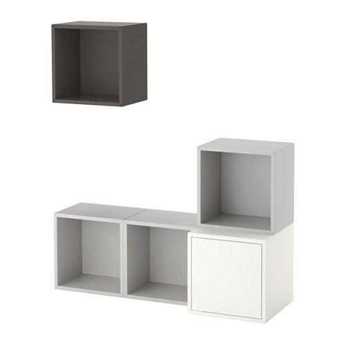 EKET 壁取り付け式キャビネットコンビネーション - ホワイト/ライトグレー/ダークグレー - IKEA