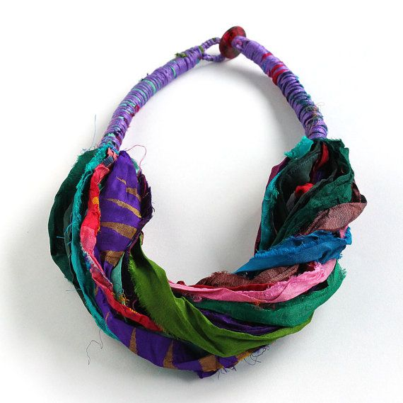 Silk necklace from colorful silk sari ribbon, boho necklace, multicolored silk scarf, ethnic necklace, spring fashion
