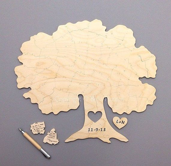 Custom 140 piece TREE Puzzle Wedding Guest Book Alternative by BELLA PUZZLES on Etsy, $565.00