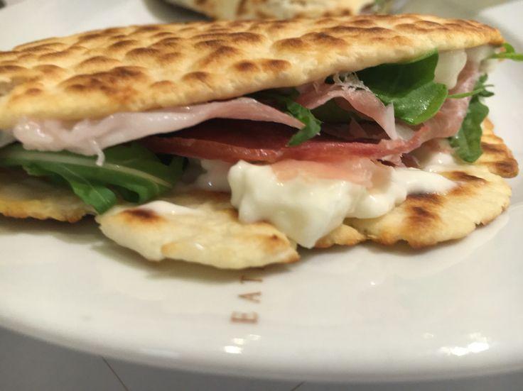 Piadina romagnola: Classic version. Parma hanno, squacquerone chiese and ricola! Rich in taste, but light.
