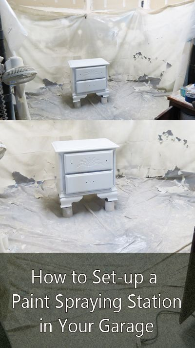 How to Set up a Spray Paint Station in Your Garage- Using the sprayer to make furniture painting SO much easier