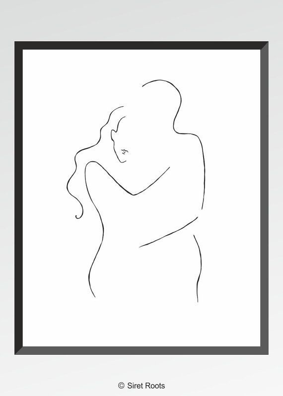 Minimalist line art. Romantic couple drawing. Love illustration. Man and woman embrace wall art