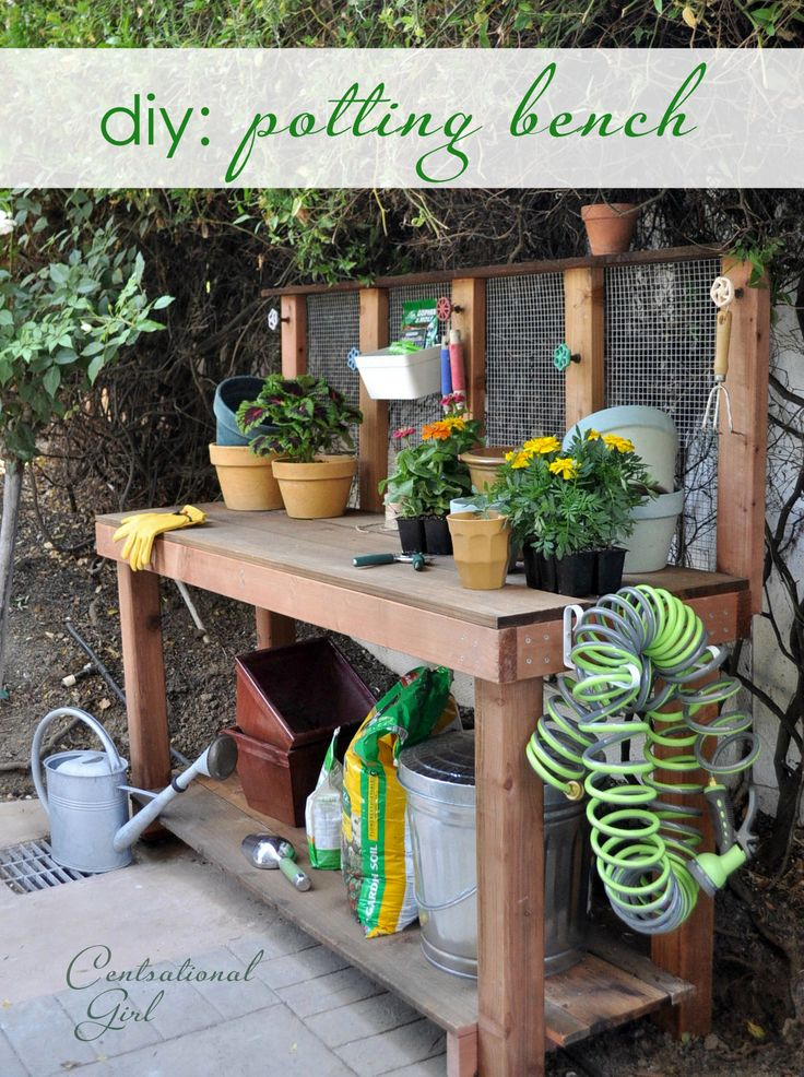diy potting benchDiy Gardens Work Benches, Step Pics, Potting Benches, Centsational Girls, Diy Pots Benches Doors, Work Benches Diy, Gardens Benches Diy, Diy Projects, Pots Benches Diy