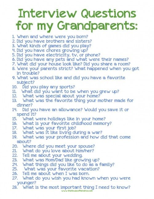 Do your children know the life stories of their grandparents? Let this printable and post encourage you to ask.  Great idea!