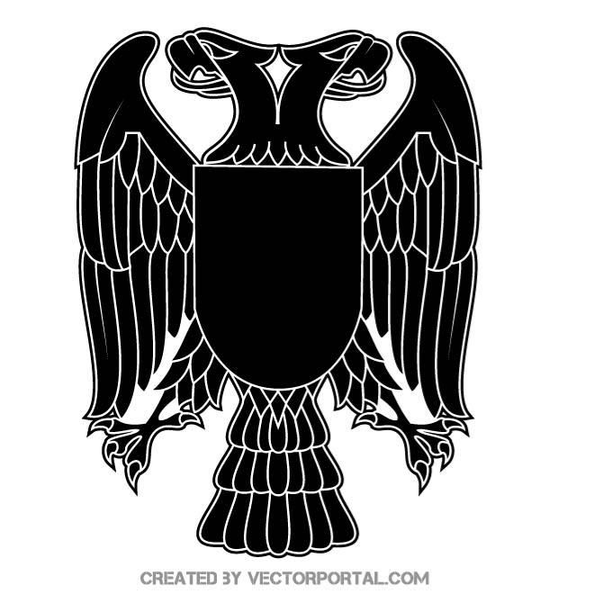 Double headed eagle vector silhouette.