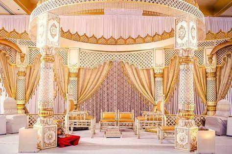 Soma Sengupta Indian Wedding Decorations- White & Gold Mandap!