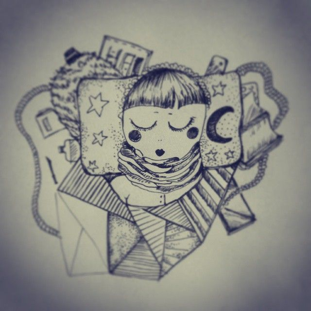 Agata Maria Bieć #agatamariabiec #illustration #sleep #girl #pencil