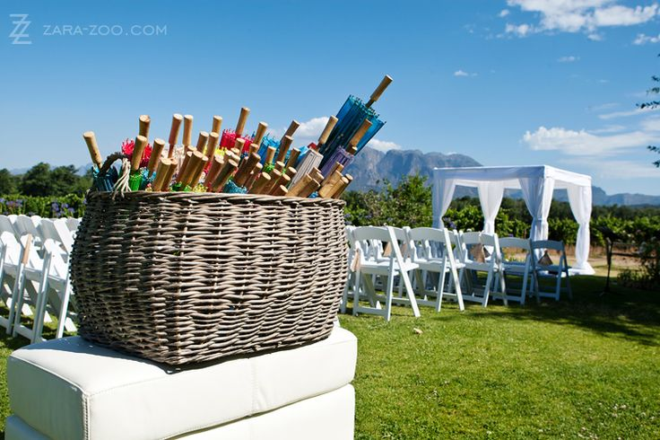 Love these parasols at this gorgeous wineland wedding #vrede en lust