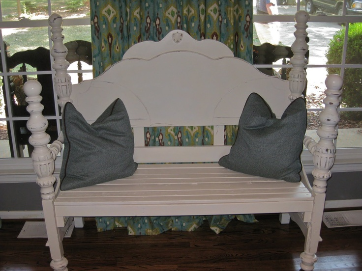 A bed frame.....drum roll ....... turned into a bench! Clever! I could make it!