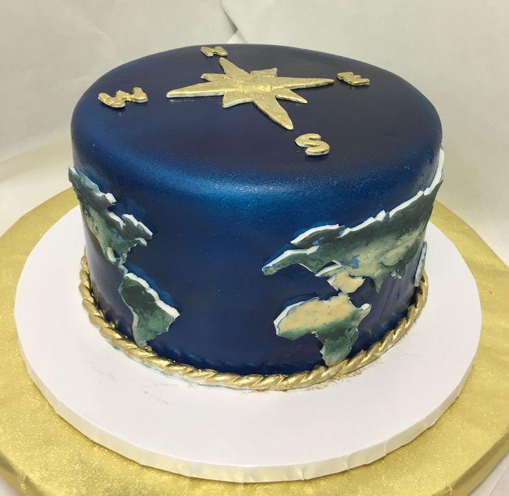 Graduates, the world awaits you. World map cake. Globe cake.