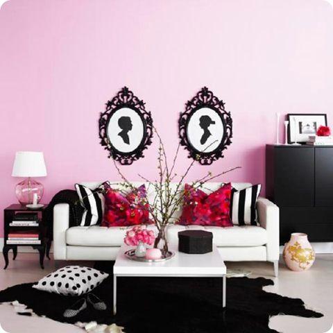 SillhouettesBathroom Design, White Living, Silhouettes Machine, Living Room, Black White, Pink Room, Pink Wall, Design Bathroom, Pink Bathroom