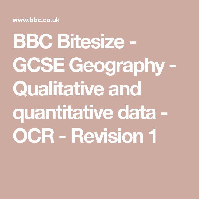 BBC Bitesize - GCSE Geography - Qualitative and quantitative data - OCR - Revision 1