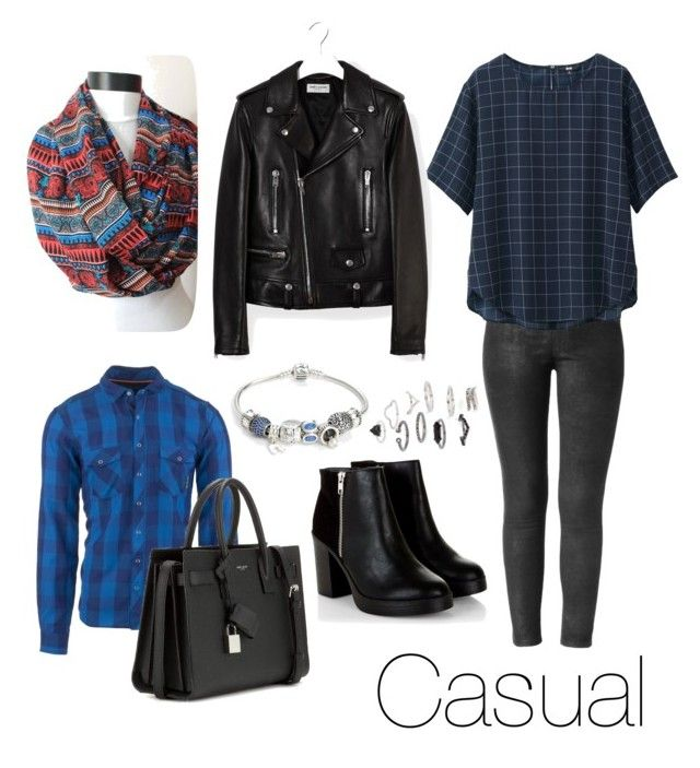 Casual Style by foto-io on Polyvore featuring moda, Uniqlo, Yves Saint Laurent, Pandora, Topshop and Ortovox