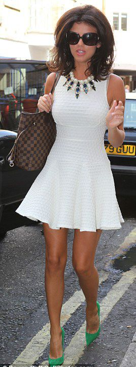 Lucy Mecklenburgh in a white skater dress. Love the green heels with it.