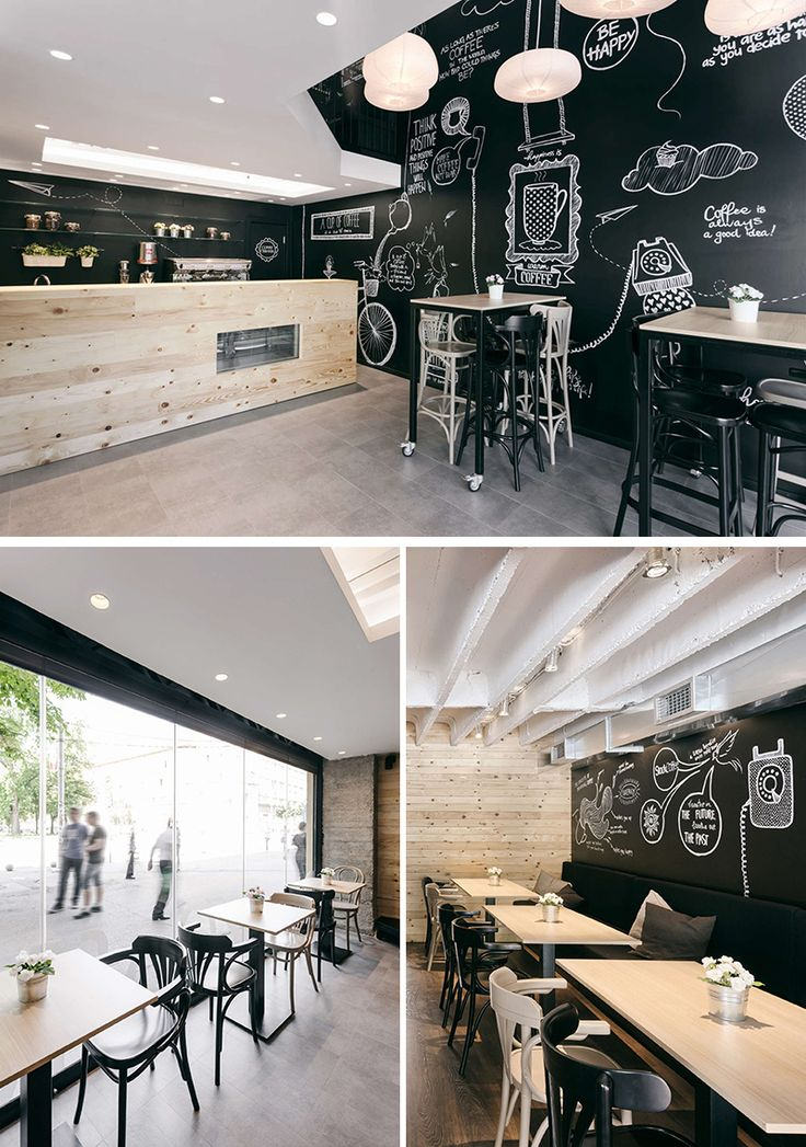 This modern coffee shop features original hand-drawn illustrations and a simple palette that combines an industrial look with natural materials.