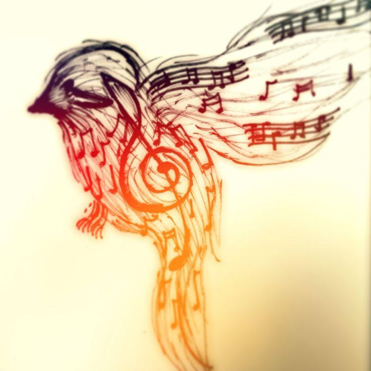 Heat And Music Note Tattoo Design