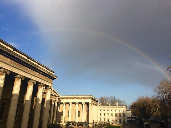A rainbow over the British Museum.