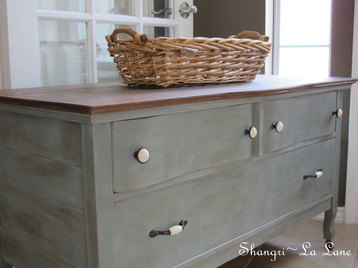 Antique Low Dresser With Caster Feet