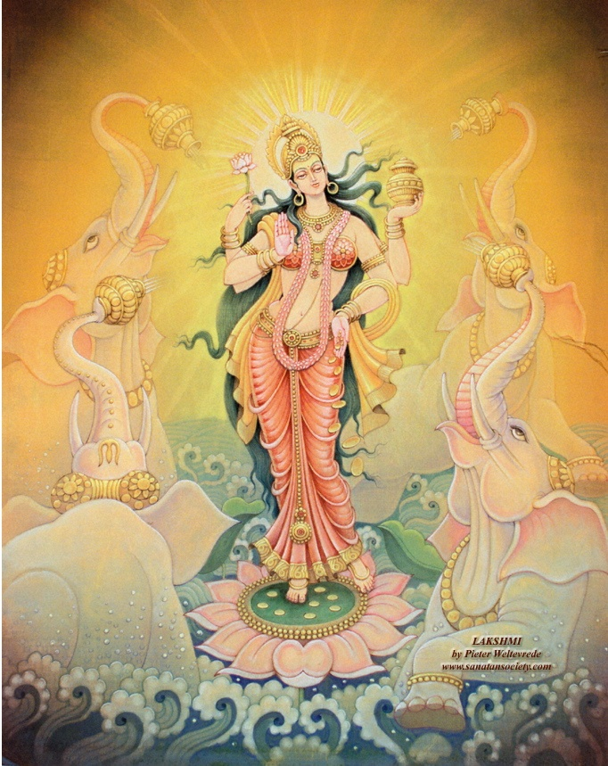 Lakshmi ~ Hindi pronunciation: [ˈləkʃmi]) is the Hindu Goddess of wealth, prosperity (both material and spiritual), fortune, and the embodiment of beauty. She is the consort of the God Vishnu. Also called Mahalakshmi, she is said to bring good luck and is believed to protect her devotees from all kinds of misery and money-related sorrows